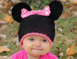 Minnie Mouse Style Crochet Beanie Hat for Children